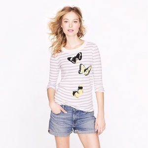 J. Crew Tippi Striped Butterfly Sweater